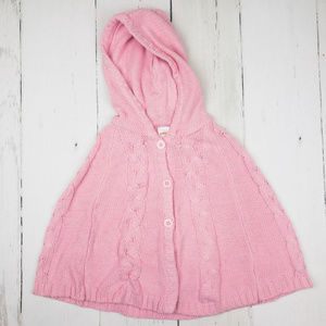 Girls Gymboree Pink Hooded Poncho Cape Size 5T